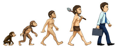 Evolution av mannen stock illustrationer