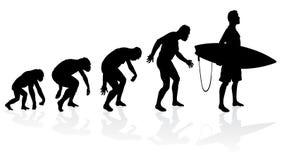Evolution av surfaren royaltyfri illustrationer