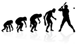 Evolution of a Baseball Player. Illustration of depicting the evolution of a male from ape to man to Baseball player in silhouette Royalty Free Stock Photos