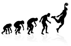 Evolution of a Basketball Player. Vector illustration of depicting the evolution of a male from ape to man to Basketball player in silhouette stock illustration