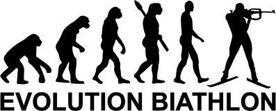 Evolution Biathlon. With shooting man Stock Photo