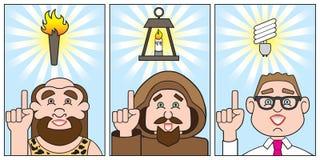 Evolution of a bright idea Stock Photo