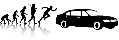 Evolution cars. The evolution of man chasing cars Royalty Free Stock Image