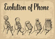 Evolution communication devices from classic phone to modern mobile. Evolution of communication devices from classic phone to modern mobile phone with hand man Stock Images