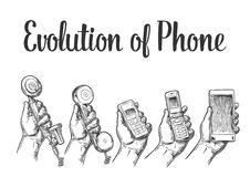 Evolution of communication devices from classic phone to modern mobile phone. Hand man. Hand drawn design element. Evolution of communication devices from Royalty Free Stock Images