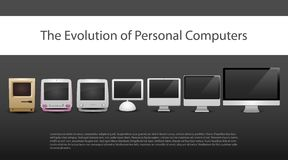 The evolution of computers 7 different types from 20-th century to now monitors included computer new old modern. Evolution of computers 7 different types of royalty free illustration