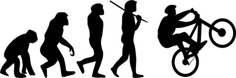 Evolution of the Cyclist. A diagram showing the typical Evolution of man from ape but with the cyclist as the end result Royalty Free Stock Image
