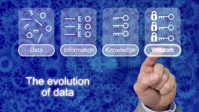 The evolution of data explained. The evolution of data with icons on blue gear background touched by a finger on wisdom Stock Images