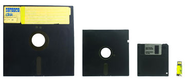 Evolution of diskettes Stock Photography