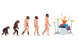Evolution drummer on white background. Vector illustration Stock Image