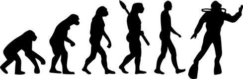 Evolution för dykapparatdykning vektor illustrationer