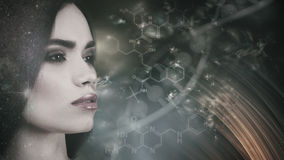 Evolution. Female portrait against abstract science backgrounds Stock Image