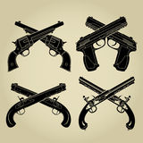 Evolution of Firearms, Crossed Silhouettes. Evolution of Firearms, Crossed Flintlock, Percussion, Cartridge and Automatic Pistol Silhouettes Stock Photography
