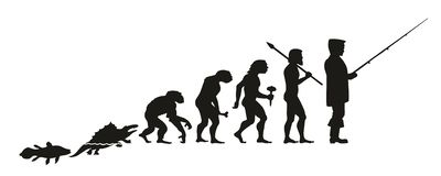 The evolution of a fisherman from fish, through other intermediate links, such as monkey, primitive man and others. Isolated on white stock illustration