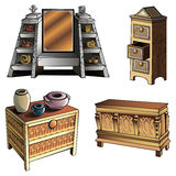 Evolution of furniture Stock Photography
