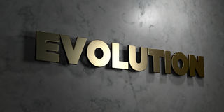 Evolution - Gold sign mounted on glossy marble wall  - 3D rendered royalty free stock illustration Stock Images