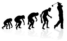 Evolution of a Golf Player. Illustration of depicting the evolution of a male from ape to man to Golf player in silhouette Stock Photography
