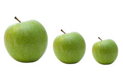 Evolution of green apples Royalty Free Stock Photo