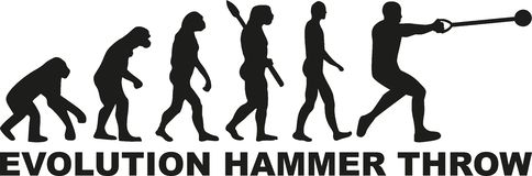 Evolution hammer throw. Man vector Royalty Free Stock Photo