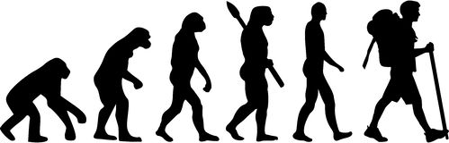 Evolution Hiker. Hiking man vector Royalty Free Stock Photos