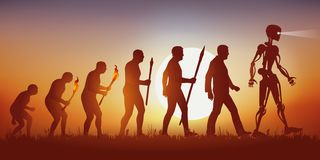 Theory of the evolution of Darwin's human silhouette ending in the robot with artificial intelligence. stock illustration