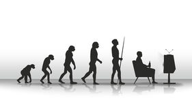 Evolution. Human evolution ending with sitting in front of TV Royalty Free Stock Images