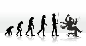 Evolution. Human evolution ending with stress at work