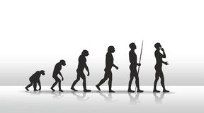 Evolution. Illustration of human evolution ending with smart phone Royalty Free Stock Images