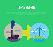 Evolution from industrial pollution to eco energy Royalty Free Stock Photos