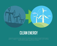 Evolution from industrial pollution to eco energy Royalty Free Stock Photography