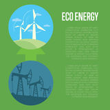 Evolution from industrial pollution to eco energy Royalty Free Stock Image