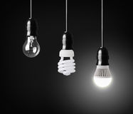 Evolution of light bulbs Stock Photos