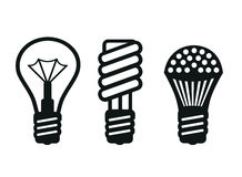 Evolution in light bulbs Royalty Free Stock Image