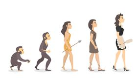 Evolution of maid. From monkey to female cleaner Royalty Free Stock Photography