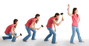 Evolution of mainkind. Representd by woman with hammer Stock Photo