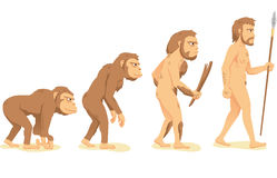 Evolution of man. Human Evolution from Ape to Man, with ape, Aborigine and men  illustration cartoon Royalty Free Stock Images