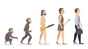 Evolution of man. From monkey to businessman Stock Photo
