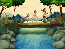 The evolution of man at the river Royalty Free Stock Images