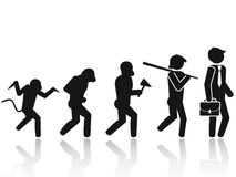 Evolution of the man Stick Figure Pictogram Icon. Isolated Evolution of the man Stick Figure Pictogram from white background Stock Photo