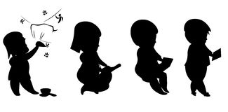 Evolution man and technology silhouettes Royalty Free Stock Photo