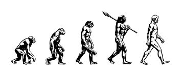 Evolution of man. Theory of evolution of man. Human development.Cro-Magnon, Neanderthal, Java Man, Australopithecine, monkey, Homo-sapience, hominid, primate Stock Image