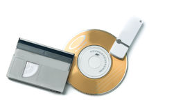 Evolution media. Cassette, CD, flash drive. Stock Photo