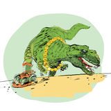 The evolution of men Tyrannosaurus dinosaur Royalty Free Stock Photography