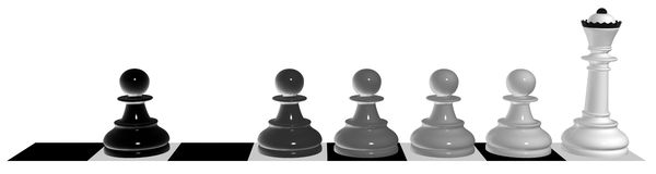 Evolution of a pawn. From a dirt in princes Stock Photography