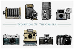 Evolution of the photo, video, film, movie camera from first till now vintage, engraved hand drawn in sketch or wood cut. Style, old looking retro lens Royalty Free Stock Images