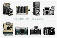 Evolution of the photo, video, film, movie camera from first till now vintage, engraved hand drawn in sketch or wood cut. Style, old looking retro lens,  vector Royalty Free Stock Images