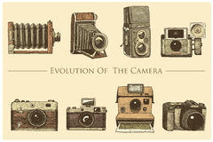Evolution of the photo, video, film, movie camera from first till now vintage, engraved hand drawn in sketch or wood cut. Style, old looking retro lens,  vector Stock Photo