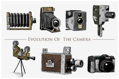 Evolution of the photo, video, film, movie camera from first till now vintage, engraved hand drawn in sketch or wood cut. Style, old looking retro lens,  vector Royalty Free Stock Photography