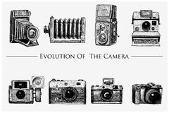 Evolution of the photo, video, film, movie camera from first till now vintage, engraved hand drawn in sketch or wood cut. Style, old looking retro lens Stock Image