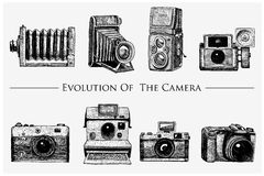 Evolution of the photo, video, film, movie camera from first till now vintage, engraved hand drawn in sketch or wood cut. Style, old looking retro lens Royalty Free Stock Photos